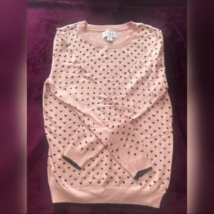 Elle Pink Sweater with Black Hearts, Size M